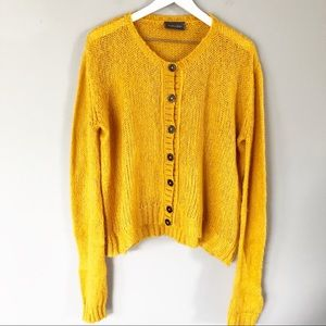Wooden Ships Mohair Crew Neck Cardigan In Mustard